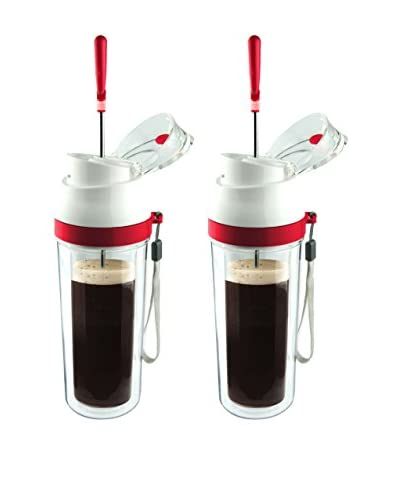 asobu Set of 2 Modern Coffee & Tea Press, Red