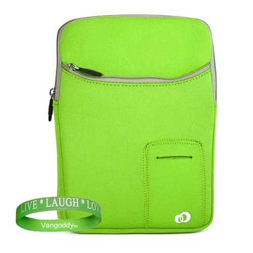 Premium Fit ASUS UL20A-A1 Thin and Light 12.1-Inch Silver Laptop - 7.5 Hours of Battery Life (Windows 7 Home Premium) 3 Pocket Netbook Sleeve Cover Carrying Case with Added Toshiba Accessories Pocket ** Green ** + Live * Laugh * Love Silicone Wrist Band!!