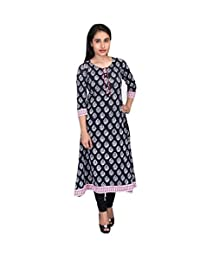 MOTHER HOME HANDBLOCK PRINT ANARKALI KURTI WITH CONTRASTING BORDERS-Women-Knee-Long-3/4 Sleeve-COTTON-BLACK- - B01ARY2VNC