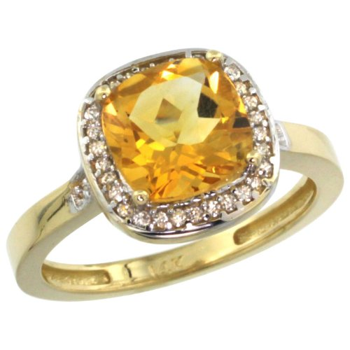 Jewelry Rings Value 14k Yellow Gold Diamond Citrine Ring 2 08 ct Checkerboar