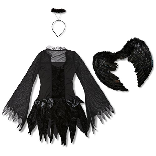 Girl's Fallen Angel Sexy Dark Dress Costume Halloween Costume Black Medium (2)