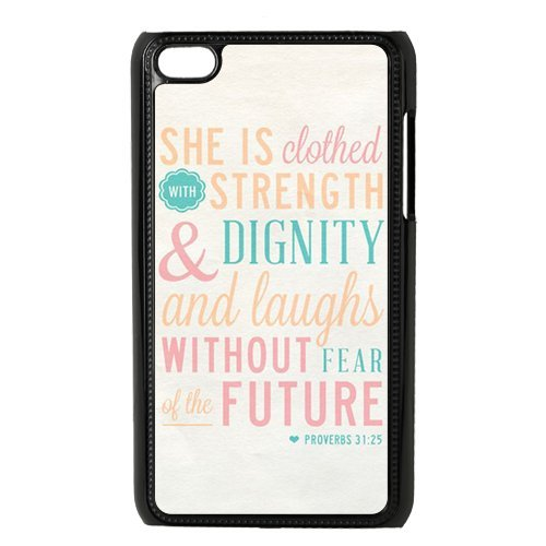 """Panbox CLASSIC Bible Quote White Phone Case for Apple iPod Touch 4th Generation – Proverbs 31:25 """"She is clothed in strength and dignity and she laughts without fear of the future image"""