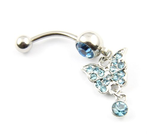 316L Surgical Steel 14 Guage Blue Gem Rhinestones Butterfly Dangle Belly Navel Rings Bar Barbell Button