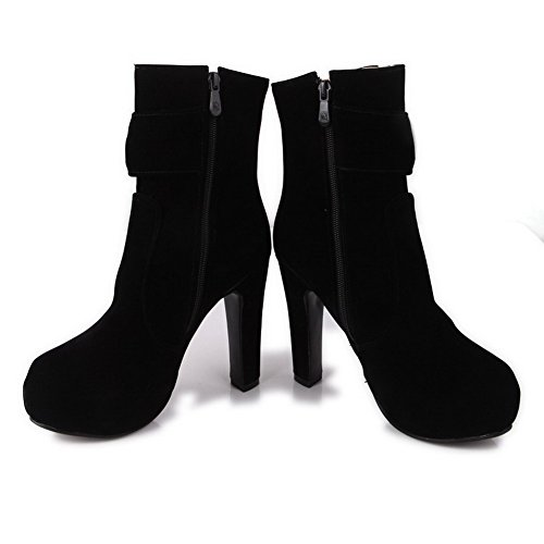 BeautyLover Womens Round Closed Toe High Heels Solid PU Boots with Platform and Zippers