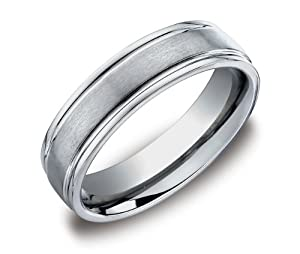 Men's Titanium 6mm Round Edge Comfort Fit Plain Wedding Band Featuring Satin Finish in the Center Size 8