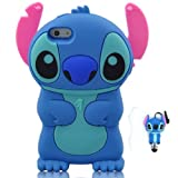For Apple iPhone 5 Soft Silicon Case Cover with Stitch Style Anti-dust Pen