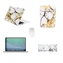 TOP CASE 5 in 1 Bundle - Retina 13-Inch Marble Pattern Rubberized Hard Case + Sleeve Bag + Keyboard Cover + Screen Protector + Mouse for MacBook Pro 13\