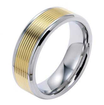 8MM Polished Stainless Steel Wedding Band Ring With Gold Plated Grooves in Center