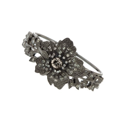1928 Bridal New Series Jet Black Crystals Diamond Cut Bracelet
