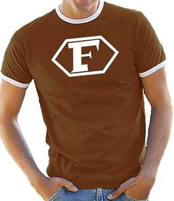 Touchlines Herren Kontrast / Ringer T-Shirt Captain Future Logo, brown/white, S, D1061