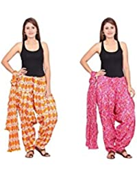Rama Set Of 2 Printed Orange & Pink Colour Cotton Full Patiala With Dupatta Set