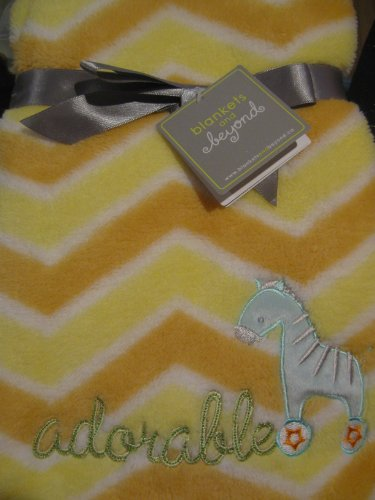 Blankets and Beyond Baby Girl or Boy Orange, White and Yellow Soft Blanket - 1
