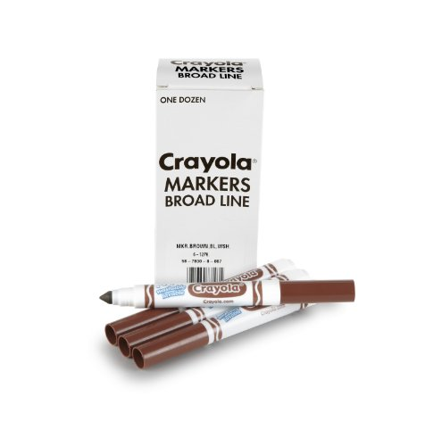 Crayola 12 Count Washable Bulk Markers, Brown