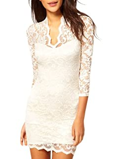 Miusol Women's Sexy Lace Dress V Neck Slim Cocktail Party Dresses,Ship From USA (Miusol XX-Large/US Size 12, White)
