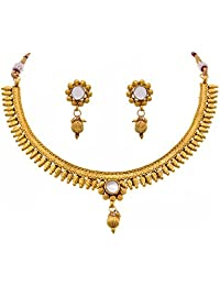 JFL - Exquisite And Ethnic Designer One Gram Gold Plated Kundan Necklace Set For Girl & Women