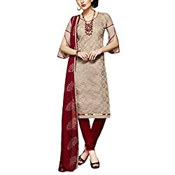 Applecreation Light Brown Dress Material With Heavy Embroidered Matching Dupatta for Women's
