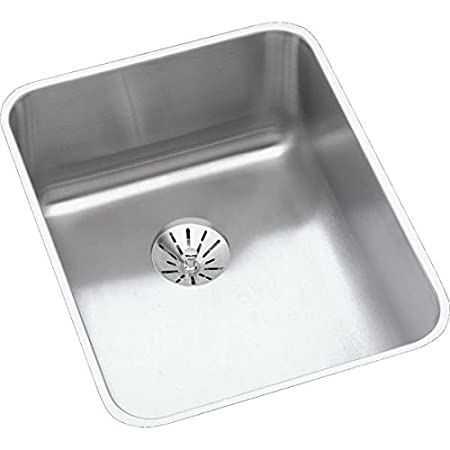 "Elkay ELUH1418PD 18 Gauge Stainless Steel 16.5"" x 20.5"" x 7.875"" Single Bowl Undermount Kitchen Sink Kit"
