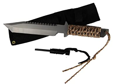 11 Hunting Knife with Fire Starter, Blade Length: 6-1/2. Multiple Color Paracord Wrapped Handles