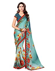 Sourbh Saree Lace Work Sea Green Satin Chiffon Must Have Best Sarees For Women Party Wear, Special Karwa Chauth...
