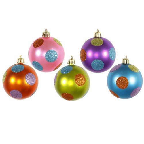 Vickerman Polka Dot Balls Set, Includes 15 Per Box, 2.4-Inch, Candy