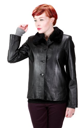Womens Classic Fur Collar Genuine Leather Jacket, Black, 3X