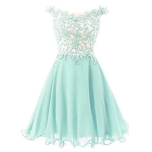 FNKS Women's Straps Lace Bodice Short Prom Gown Homecoming Party Dress Mint US 2
