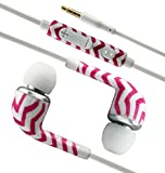 PointH Sony Xperia Z, Xperia ZL, Xperia E dual, Xperia E, Xperia T LTE, Xperia V, Xperia J, Xperia TX, Xperia T, Xperia SL, Xperia tipo dual, Xperia tipo In Ear Headphone Earphone 3.5mm Jack With Mic & On / Off Switch And Volume Control (Pink Zebra Patte