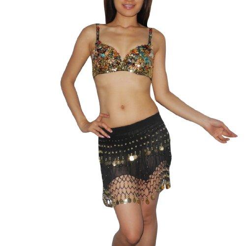 2 PIECE SET: Ladies Exotic Belly Dance Sexy Sequins Beaded Top & Golden Coin Sheer Skirt