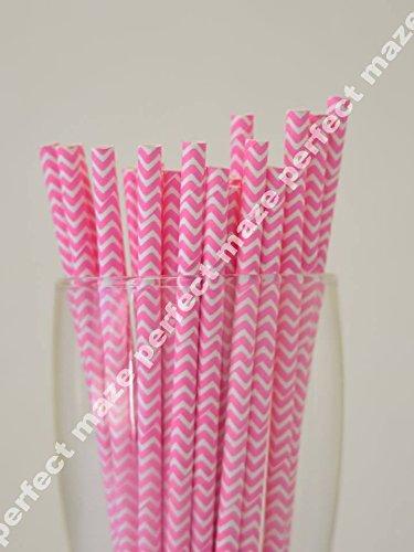 Perfectmaze 50 Pack Stylish Paper Straws Chevron-Wedding/Baby Shower/Birthday Party/Picnic-Multicolors (Hot Pink)