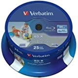 Verbatim BD-R SL LTH Blu-ray Rohlinge (6x Speed, 25GB, 25er Spindel) Wide Inkjet Printable
