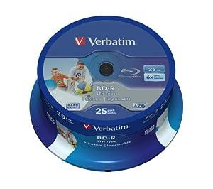 Verbatim 43771 Blu ray BD-R simple couche LTH Surface imprimable totale sans logo 6x 25 Go Pack de 25