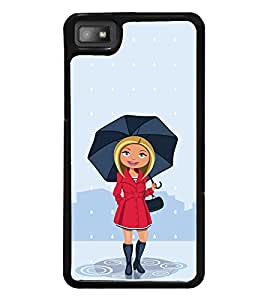 Cute Girl with Umbrella 2D Hard Polycarbonate Designer Back Case Cover for BlackBerry Z10