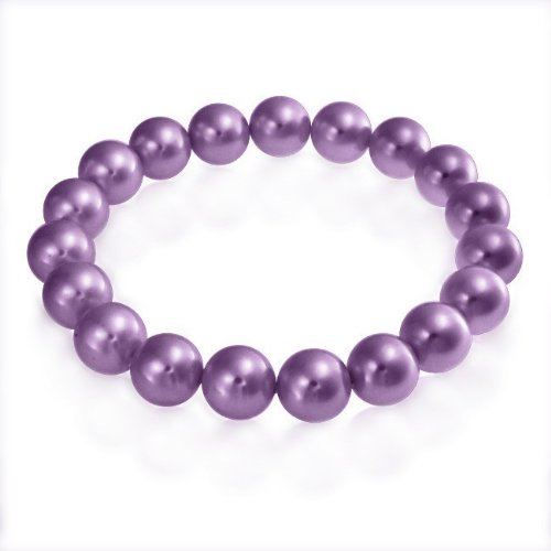 Bling Jewelry Round South Sea Shell Purple Pearl Stretch Bracelet 10mm