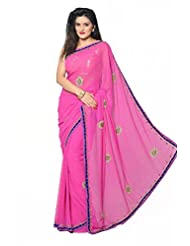 Aarti Saree Chiffon Stone Work Saree with Blouse Piece (Sbf7002 _As Shown In Image)