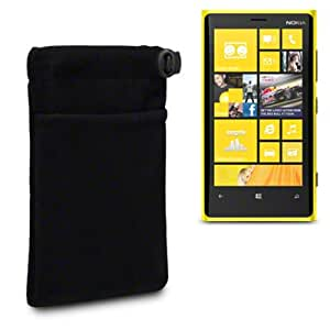 NOKIA LUMIA 920 SOFT CLOTH POUCH CASE WITH ACCESSORY POCKET BY CELLAPOD CASES BLACK
