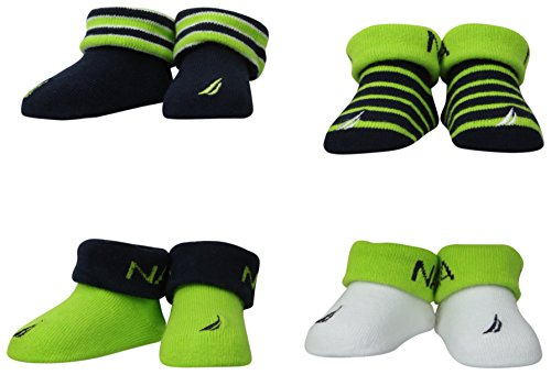 Nautica Baby-Boys Newborn 4 Pack Stripe And Solid Bootie, Assorted, 0-6 Months back-1072059