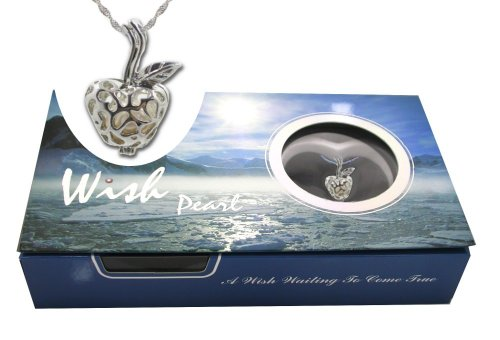 Teachers Gift Genuine Wish Pearl Apple Cage Pendant Necklace 18