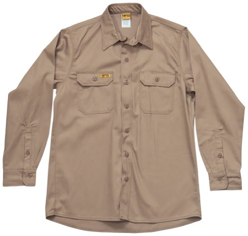 LAPCO GOS7KH-4XL-REG Long Sleeve 7-Ounce 88-Percent Cotton 12-Percent Nylon Flame Resistant Khaki Shirt, 4X-Large