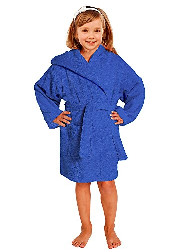 Towel Terry Bathrobe 100% Cotton Blue Kids Hooded Robe Girls & Boys Size S / M