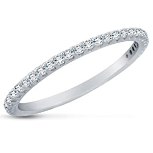 Size 12 - Small Thin Solid 14K White Gold Highest Quality CZ Cubic Zirconia Wedding Ring Band - Available in all ring sizes 4 - 13