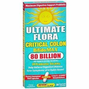 ReNew Life Ultimate Flora Critical Colon BifidoMax Probiotc, 80 Billion, Veggie Caps 30 ea