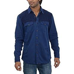 Inego Men's Casual Shirt (Indigo )