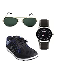 Elligator Stylish Black & Blue Sneaker Shoes & Watch With Elligator Sunglass For Men's