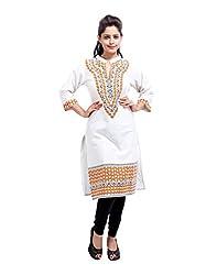 Handmade Off-White Kurti Cotton Flex Printed Tribal Medium For Womens By Rajrang