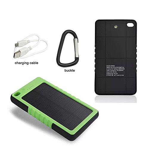 MLMSY Waterproof Solar Charger, Solar External Battery Pack Portable 8000mAh USB Solar Battery Charger Power Bank Phone Charger with LED Emergency Lights for Cell Phones,Tablet, Camera (S, green) (8000 Mah Battery Pack Charger compare prices)