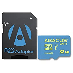 Abacus24-7 32 GB Memory Card [microSD, UHS-I, Class 10] for Cell Phones and Tablets [with SD Adapter]