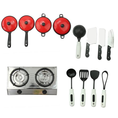 13 Set Kids Pretend Education Fun Play + Learn Kitchen Cookware House Game Toy - 1