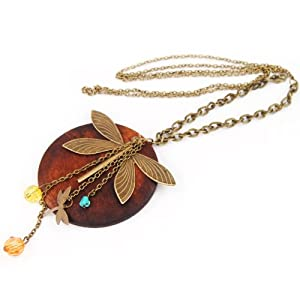 World Pride Fashion Lady Charming Wood Dragonfly Pendant Necklace Lovely Style
