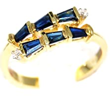 buy Gemstone Diamond Unique 14K Yellow Gold Blue Sapphire Ring [Rr036]