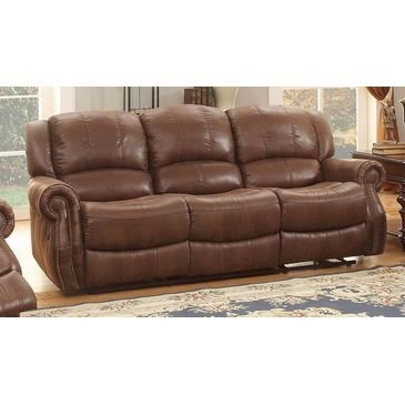 Homelegance Levasy Sofa Recliner In Brown Bomber Jacket Microfiber